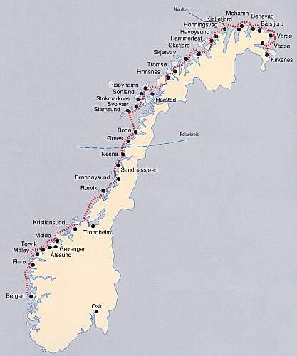 Karte Norwegen Hurtigruten.Hurtigruten Reiseroute